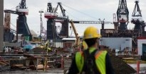 Cranes are pictured at the Vancouver Shipyard in North Vancouver, B.C. Monday, Oct. 7, 2013. The federal government announced that the Vanco