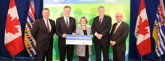 (from left to right) Gary Herman, Industry Training Authority CEO, Andy Calitz, LNG Canada CEO, Honourable Shirley Bond, Minister of Jobs, T