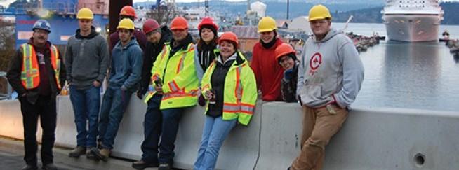 IMTARC SRELT students learning at the Esquimalt Graving Dock