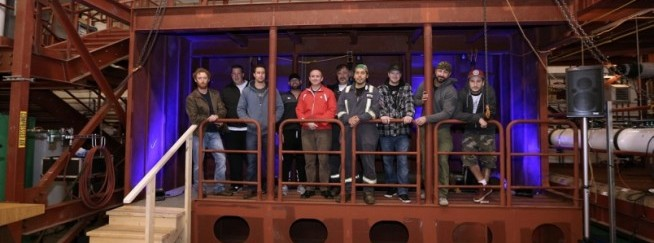 Camosun College students show off a new bulkhead training module manufactured and donated to the college by Seaspan Victoria Shipyards on Tu