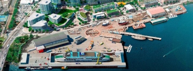 An artist's rendering of what the expansion of Point Hope Shipyard would look like, aligned with the proposed master plan for Dockside Green
